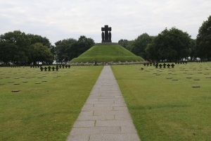 The cemetery is very symmetrical, arranged in neat blocks with a monument in the center.