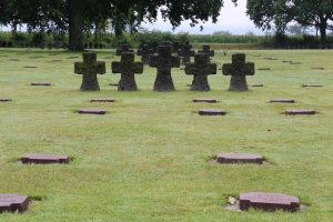 The five-cross motif is present throughout the cemetery - the sets mark off each of the grave blocks.