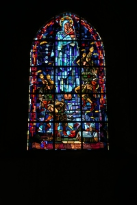 This stained glass window was added to the church by the town to commemorate the paratroopers who liberated the town.