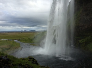 View from behind Seljalandsfoss waterfall