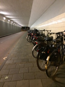 My first view upon leaving the train station:  bike parking that filled this entire tunnel