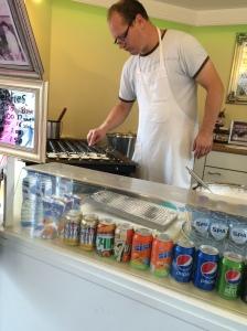 The Poffertjes man, making my Dutch pancakes