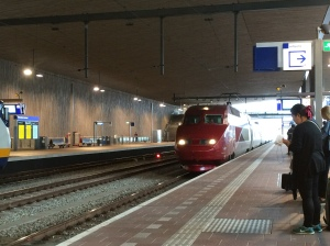 Thalys train arriving in Rotterdam
