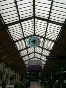 Clock in the Paris-St. Lazare Station