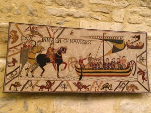 This section of the Tapestry shows the preparations for the invasion