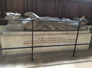 Rollo, the first Duke of Normandy is buried in Rouen Cathedral.