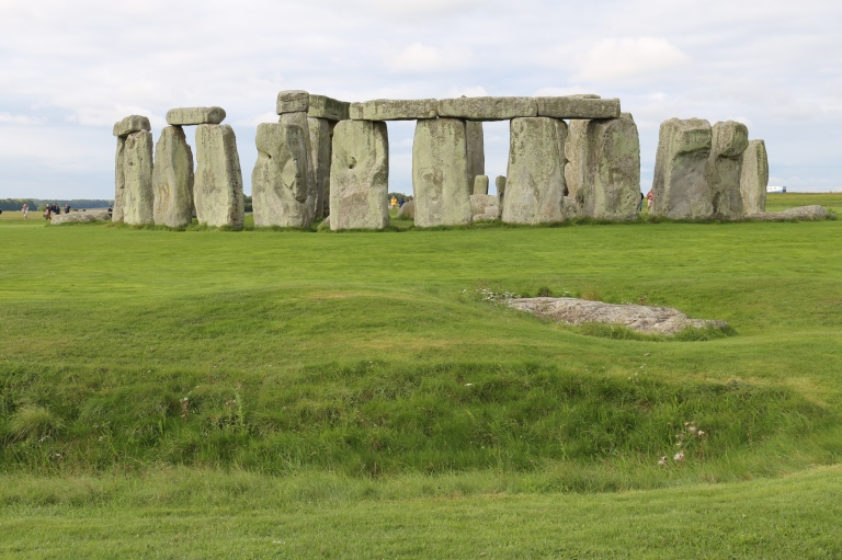 This view shows the henge in the foreground with the stone circle in the center