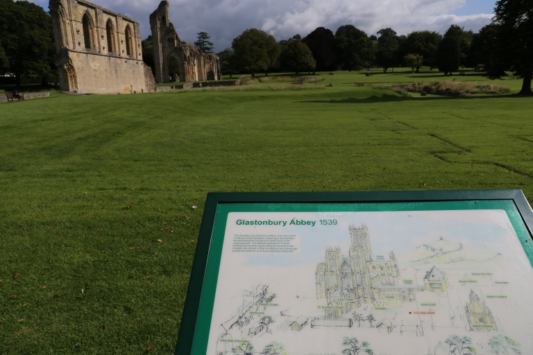 This sign shows where the original abbey was against what's left