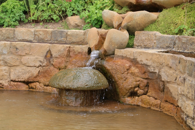 There are several decorative fountains throughout the garden, all tied to the same spring.