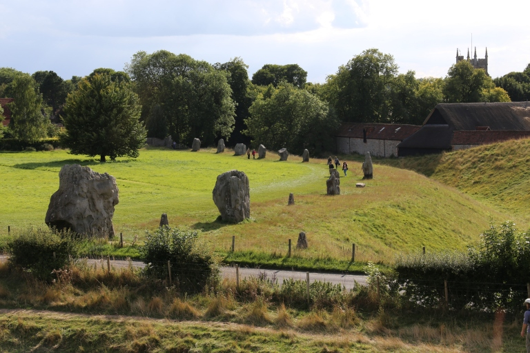 Part of the stone circle and Avebury village from the top of the henge
