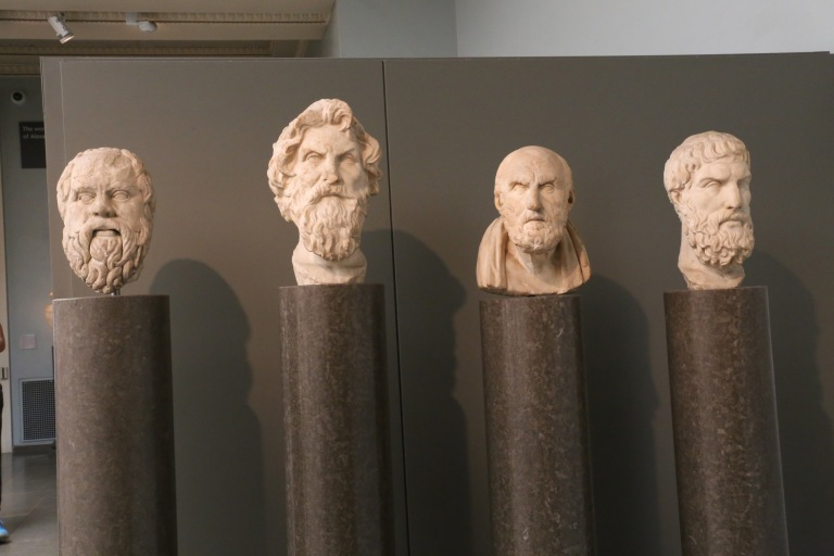 Philosopher Row (L-R): Sokrates, Anisthenes, Chrysippos, & Epikouros. Roman copies of the lost Greek originals from the 300-200s BC