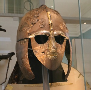 Sutton Hoo helmet - one of only four surviving helmets from Anglo-Saxon England. Sutton Hoo was a 7th century AD shipwreck recently uncovered that tells us a great deal about Anglo-Saxon life