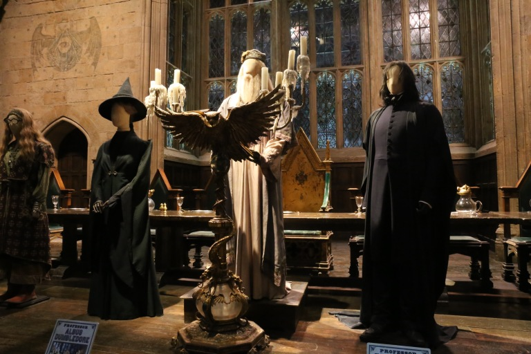 The costumes for McGonagall, Dumbledore and Snape. Snape's costume is the only one in the whole production that was not changed between any of the movies.