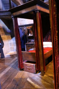 Harry's spot in the Gryffindor Boys' Dormitory.