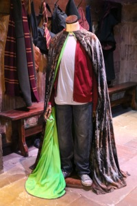 Harry Potter and the invisibility cloak. The bright green is used for special effects later in the process.