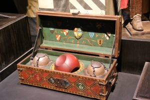 The Quidditch set Oliver Wood shows Harry in the first movie.