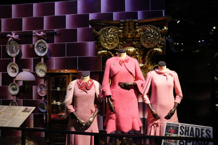 Umbridge's costumes - they used every imaginable shade of pink. For the kitten pictures on the plates decorating her walls, they actually did a Kitten Photo Shoot.