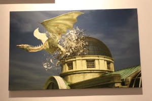 Dragon escaping Gringotts concept art by Paul Catling