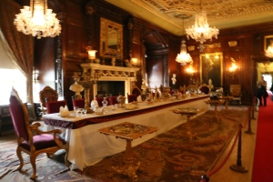 Formal dining room at Warwick Castle.