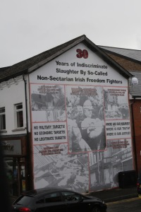A rather graphic mural on the Shankill Rd identifying losses suffered over the course of the Troubles.