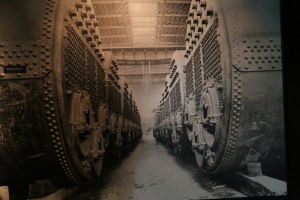 One of many images in the museum - this one shows the massive engineering works in the belly of the great ship