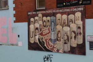 Another mural on the Falls Rd, this one showing the people killed by plastic bullets, including many children.