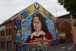 Bobby Sands mural on Falls Rd. He died during a hunger strike in British prison. He was also elected as a Member of Parliament just before his death.