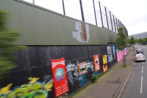 One of the peace lines - fences dividing contentious areas within the city. They are covered in graffiti and are considered by some to be the longest art galleries in Europe.