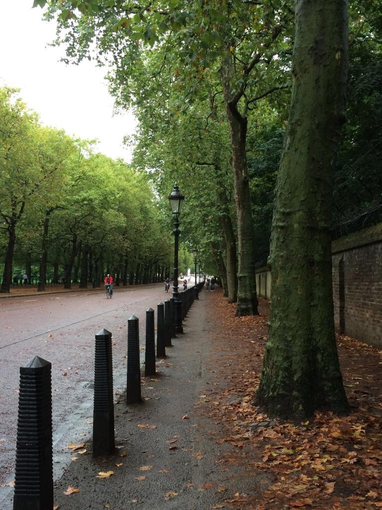 Walkway around one side of Buckingham Palace