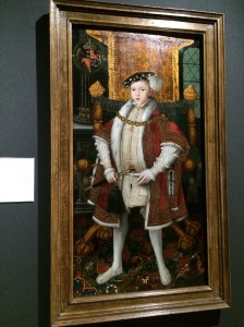 King Edward VI by the workshop associated with Master John. This is Henry VIII's only legitimate son. Edward died when he was 16.