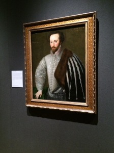 Sir Walter Raleigh by an unknown English artist. Supposedly his wife, Elizabeth Throckmorton Raleigh was so devastated by his death that she carried his severed head dipped in tar around in her purse for the rest of her life. Raleigh and Throckmorton defied Elizabeth I to marry in secret. She was one of the queen's handmaidens and required the queen's permission to marry.