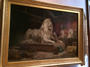 Sir Edwin Henry Landseer by John Ballantyne - Landseer is making one of the lions that now stands in Trafalgar Square