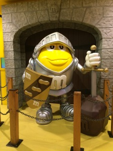 This display is in the M&M store in Piccadilly Circus - the sword-in-the-stone is the giveaway that this is supposed to be Arthur.