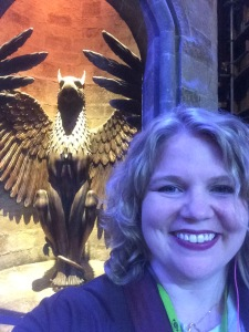 In front of the entrance to Dumbledore's Office