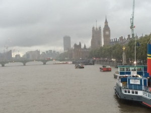 The Houses of Parliament with Big Ben on this rainy day while I walked across the Thames on the Embankment Bridge.