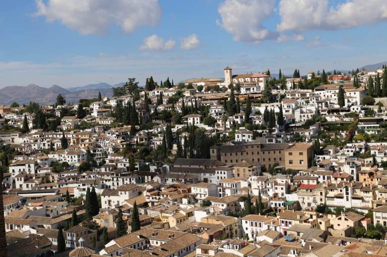 View of Granada from one of the Alhambra's balconies