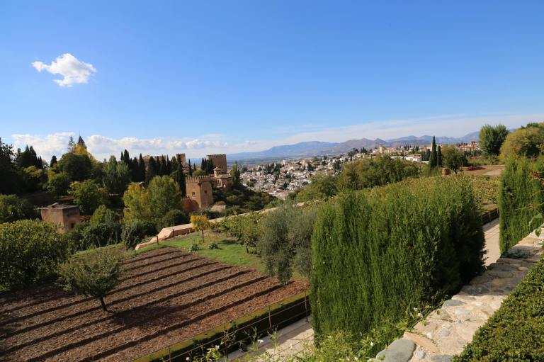 The view out across the valley from the Generalife Gardens
