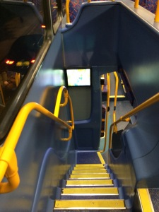 Staircase on a double-decker bus, or as I think of it: an opportunity for me to give my drunk toddler impression if I'm trying to go up or down while the bus is moving.