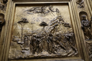 A detail of of the cast of Ghiberti's Baptistry doors