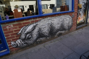 A ROA pig on Bacon Lane.