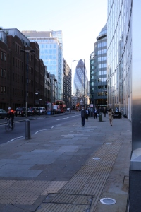 Just over the border to the City of London and its financial district - right next to the East End.