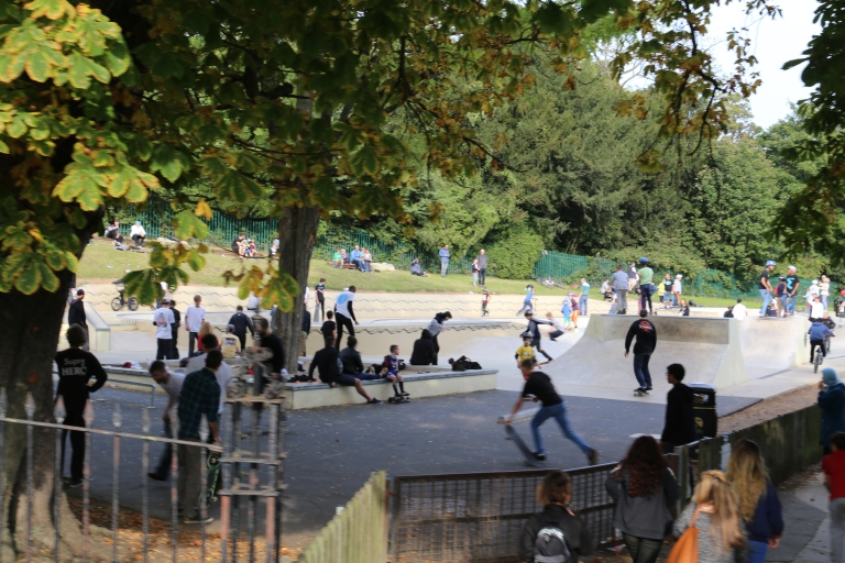 These skateboarders enjoy a more modern pursuit in Victoria Park