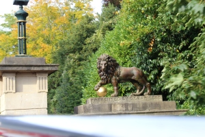 Lion statue at one of the entrances to Victoria Park