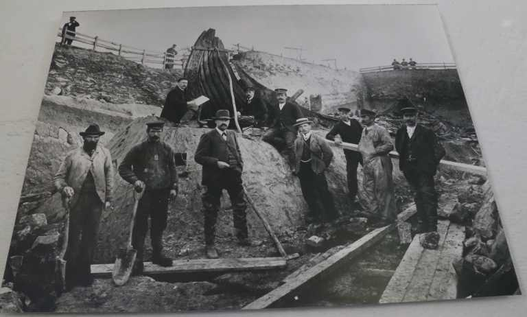 This photo shows the excavation efforts for the Oseburg ship. A farmer uncovered the find on his land in 1904.