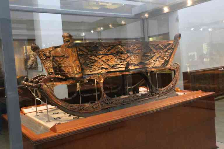 One of the decorative sledges found in the Oseberg ship.