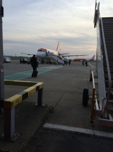 Leaving Belfast Airport. I love it when we get to board the plane from the tarmac.