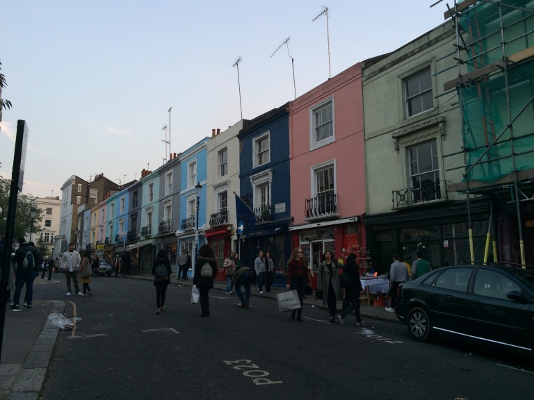 The rather famous colored row houses at the end of Portobello Road - they seem very out of place for London.
