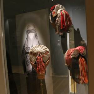Some of the traditional Norwegian hats, part of the Folk Dress exhibit