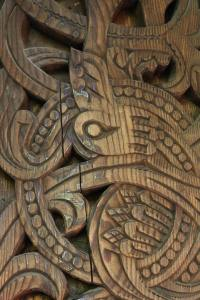Detail above one of the doors on the stave church