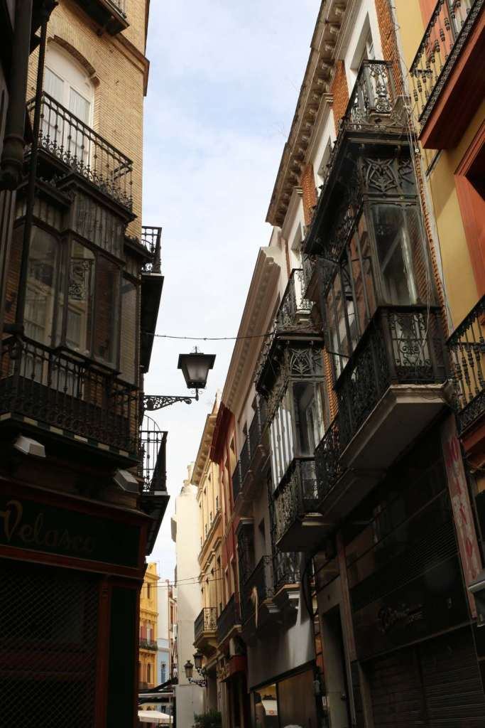 Gorgeous balconies on a winding, narrow street